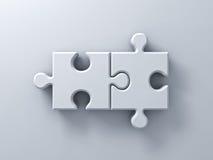 Duas partes do enigma de serra de vaivém no fundo branco da parede com rendição da sombra 3D ilustração do vetor
