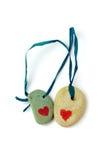 Duas pedras com coração. Fotos de Stock