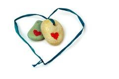 Duas pedras com coração. Imagens de Stock Royalty Free