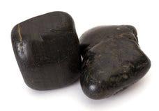 Duas pedras pretas isoladas Fotos de Stock Royalty Free