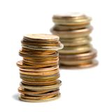 Duas pilhas das moedas Fotografia de Stock Royalty Free