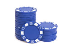 Duas pilhas de microplaquetas de pôquer azuis Imagem de Stock