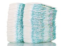 Duas pilhas de tecidos descartáveis isolados no branco Fotografia de Stock