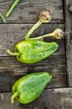 Duas pimentas de sino cruas verdes em uma placa de madeira escura velha, em gotas da água em legumes frescos orgânicos, em dieta  foto de stock