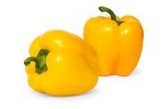 Duas pimentas doces amarelas Foto de Stock Royalty Free