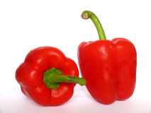 Duas pimentas vermelhas Fotos de Stock Royalty Free