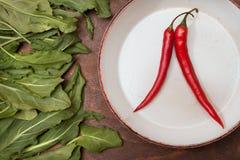 Duas pimentas vermelhas em uma placa branca Imagem de Stock Royalty Free