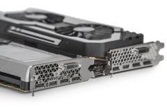 duas placas gráficas video com GPU poderoso isoladas no fundo branco fotografia de stock royalty free