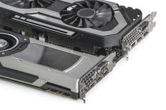 duas placas gráficas video com GPU poderoso isoladas no fundo branco imagens de stock royalty free