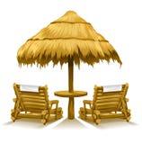 Duas plataforma-cadeiras da praia sob o guarda-chuva de madeira ilustração do vetor