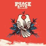 Duas pombas bonitas com Olive Branch Peace Symbol Illustration ilustração royalty free