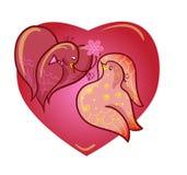 Duas pombas dos amantes ilustração, Imagem de Stock Royalty Free