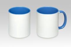 Duas posições de uma caneca branca fotos de stock
