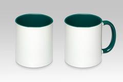 Duas posições de uma caneca branca foto de stock