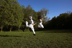 Duas raparigas saltam no parque Imagem de Stock Royalty Free