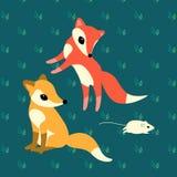 Duas raposas pequenas que jogam com um rato ilustração royalty free