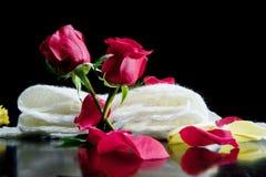 Duas rosas vermelhas junto com as pétalas vermelhas em um fundo preto Fotografia de Stock