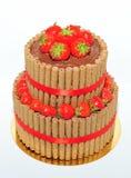 Duas séries chocolate e bolo da morango Foto de Stock Royalty Free