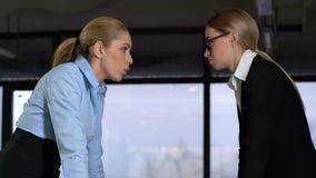 Duas senhoras irritadas do negócio que falam no escritório, conflito de trabalho, engano vídeos de arquivo
