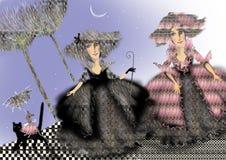 Duas senhoras nos trajes históricos que estão fora Imagem de Stock Royalty Free