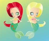 Duas sereias pequenas Imagens de Stock Royalty Free