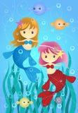 Duas sereias pequenas bonitos Imagens de Stock Royalty Free