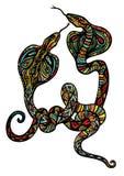 Duas serpentes ornamentado Imagem de Stock