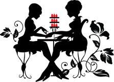 Duas silhuetas da mulher no processo do tratamento de mãos ilustração royalty free