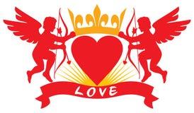 Duas silhuetas do cupido do amor Imagens de Stock
