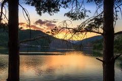 Duas silhuetas do pinheiro que quadro o lago reflexivo, dourado Zavoj imagens de stock