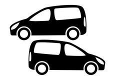 Duas silhuetas pretas do carro em um fundo branco Fotografia de Stock Royalty Free