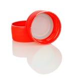Duas tampas plásticas vermelhas do frasco Imagem de Stock Royalty Free