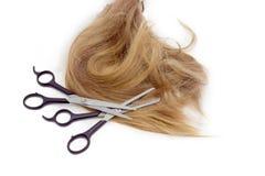 Duas tesouras dos cabeleireiro contra o contexto da costa do cabelo Imagem de Stock