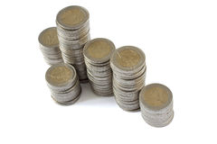 Duas torres das moedas dos euro Fotografia de Stock Royalty Free