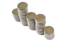 Duas torres das moedas dos euro Imagens de Stock
