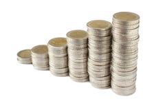 Duas torres das moedas dos euro Fotos de Stock