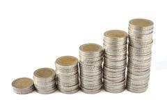 Duas torres das moedas dos euro Fotografia de Stock