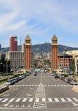 Duas torres no d'Espanya de Plaça Fotos de Stock