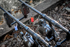 Duas varas de pesca da carpa em alarmes Fotografia de Stock
