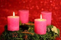 Duas velas cor-de-rosa Imagem de Stock