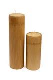 Duas velas de madeira Fotografia de Stock Royalty Free