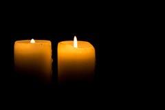 Duas velas de queimadura Fotografia de Stock Royalty Free