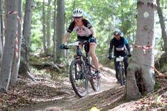 Duathlon -骑自行车的阶段追逐 免版税图库摄影