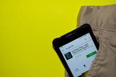 Dub Music Player - uso del reproductor de audio y del revelador del equalizador de la música en la pantalla de Smartphone imágenes de archivo libres de regalías