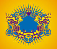 Dub Warriors. Coat Of Arms With Heart And Crown Royalty Free Stock Photos