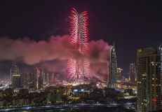Dubaï Burj Khalifa New Year 2016 feux d'artifice Photo stock