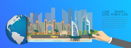 Dubaï infographic, global avec des points de repère de Dubaï, style plat Amour Dubaï de voyage d'amour Photographie stock libre de droits