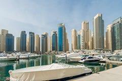 Dubaï - 10 janvier 2015 : Secteur de marina dessus Images libres de droits