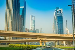 Dubaï Sheikh Zayed Road - vue 15 de rue 09 Tomasz Ganclerz 2017 Photo stock