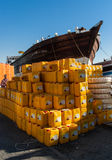 Dubai's traditional dhow and cargo Stock Image